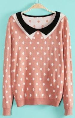 cichic-pink-polka-dot-collar-sweater