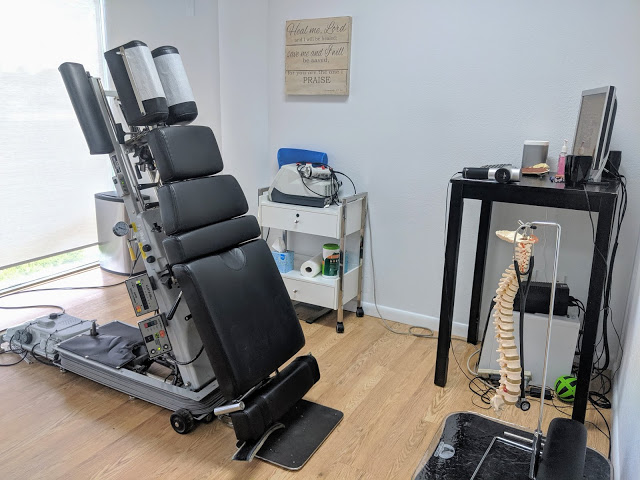 Adjustment Table in the Treatment Room at Physical Evidence Chiropractic in Boca Raton