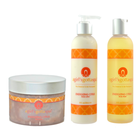 A Girl's Gotta Spa Energizing Citrus Salt Scrub set