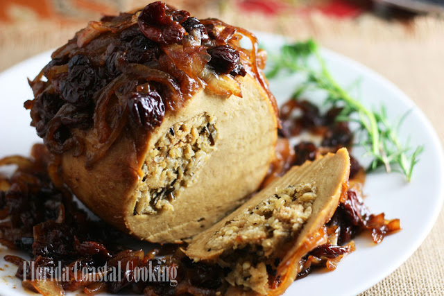 My 1st Vegan Thanksgiving Recipe Round Up Florida Coastal Living Tender Roast Tofurkey with Balsamic Caramelized Onions and Tart Dried Cherries recipe