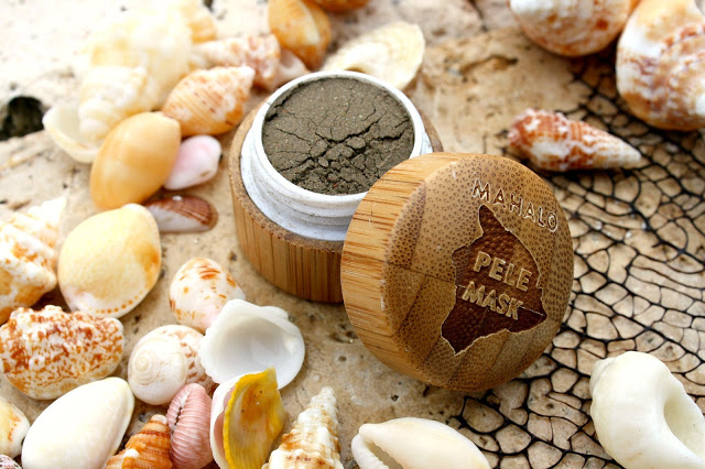 image of Mahalo Pele Mask packaging open with volcanic clay-based product visible