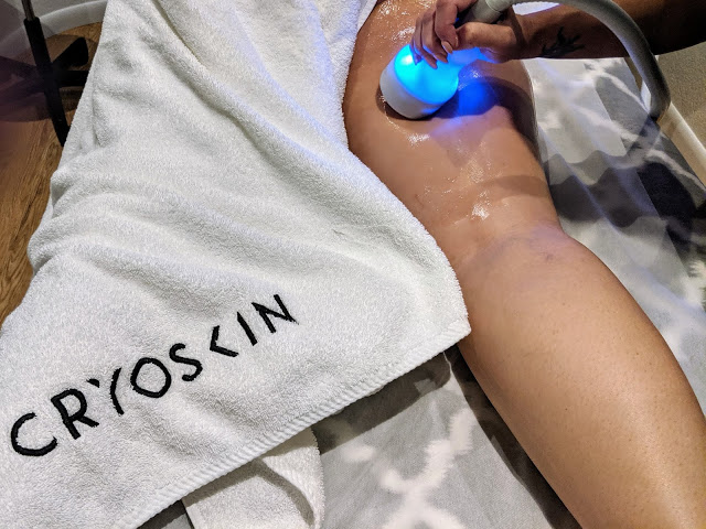 Getting my Cryoskin Thigh Toning Treatment at Physical Evidence in Boca Raton