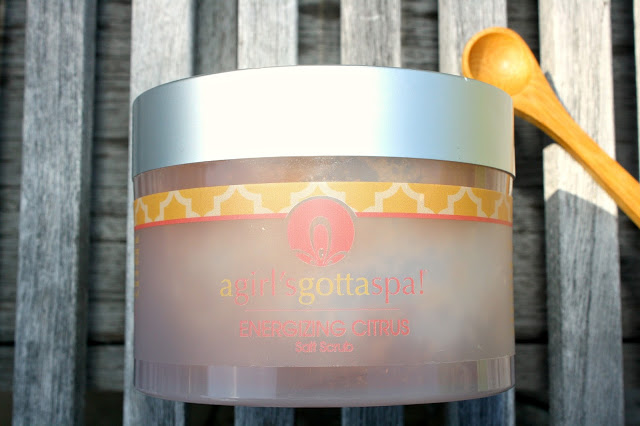 A Girl's Gotta Spa Energizing Citrus Salt Scrub on wood