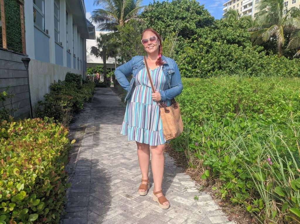 My Eve Cork Bora handbag goes perfectly with my South Florida vibes dress and jean jacket